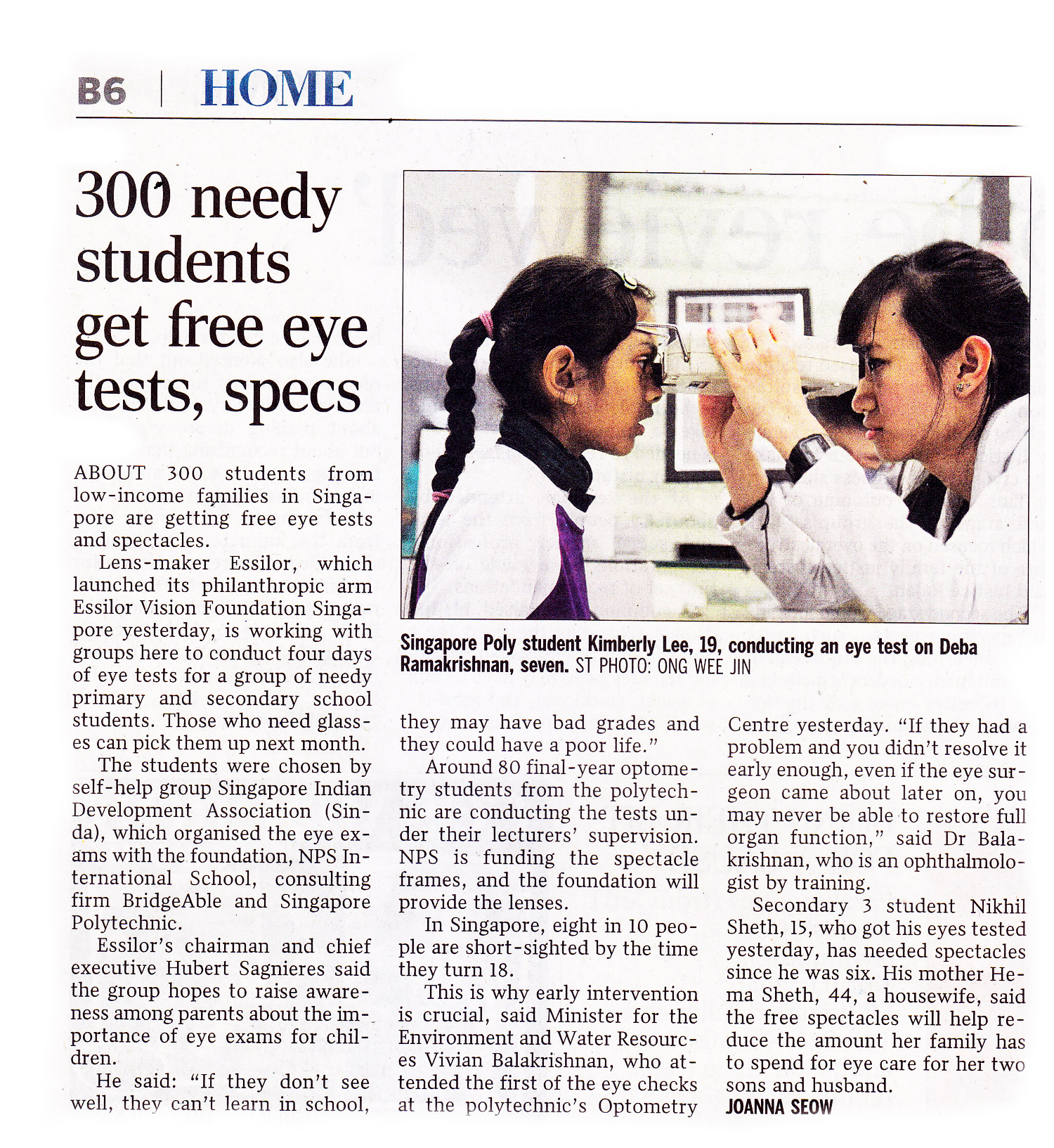 Straits Times article on Kids Vision for Life